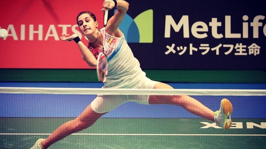 Carolina Marín en su partido de cuartos de final del Open de Japón de bádminton 2017