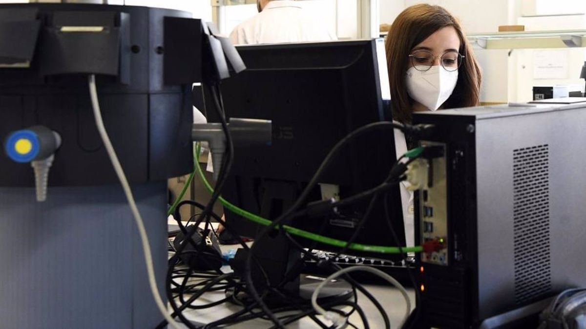 Una mujer trabaja en una empresa tecnológica.