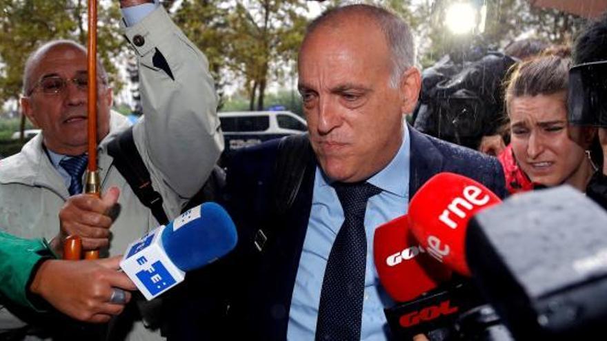 El presidente de La Liga, Javier Tebas, antes de declarar por el caso en Instrucción.