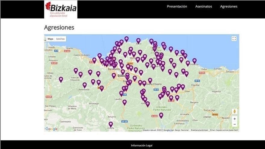 Diputación elabora un mapa de la violencia machista en Bizkaia con las agresiones y asesinatos de los últimos años