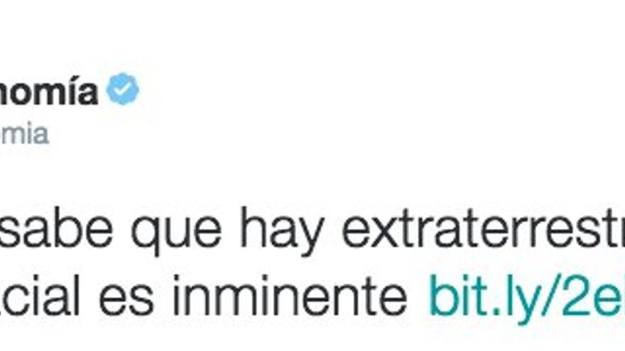 Captura de un tuit de Intereconomía, que informa de que El Vaticano sabe que hay extraterrestres