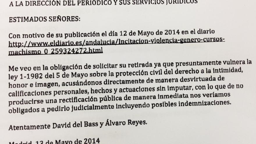 Fax remitido a eldiario.es por Álvaro Reyes y David del Bass
