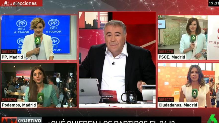 La noche electoral de 'Al Rojo Vivo: objetivo La Moncloa'
