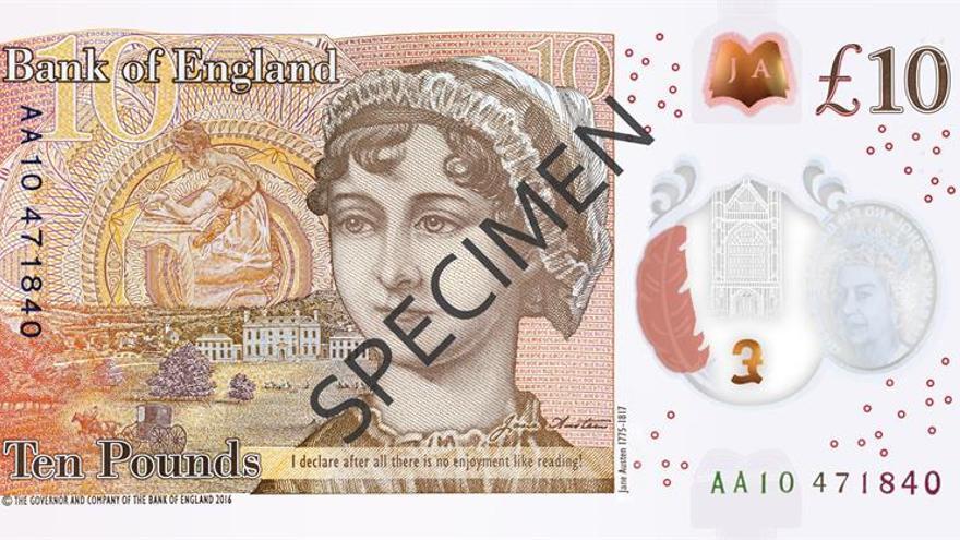 Entra en circulación un billete de diez libras con el rostro de Jane Austen