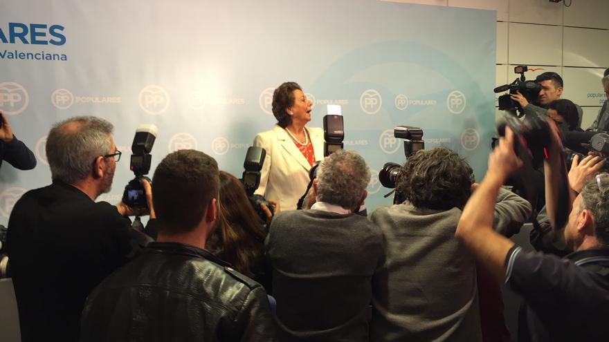 La senadora Rita Barberá, en la rueda de prensa que protagonizó para negar su implicación en cualquier caso de corrupción.