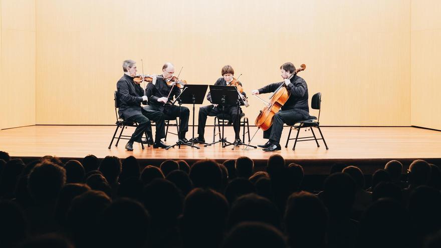 Cuarteto Borodin  durante el concierto ofrecido en el Teatro Circo de Marte de Santa Cruz de La Palma en el marco del II La Palma Festival Internacional de Música .