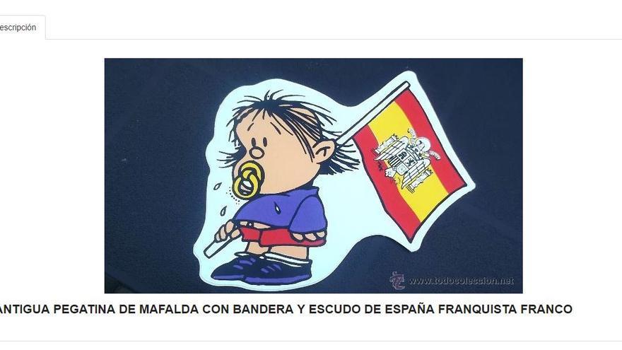 Pegatina de de Guille (el hermano de Mafalda) portando la bandera de la dictadura franquista a la venta en la página todocoleccion.net