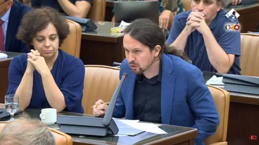 Pablo Iglesias interviene en la comisión de investigación como portavoz de Unidos Podemos.