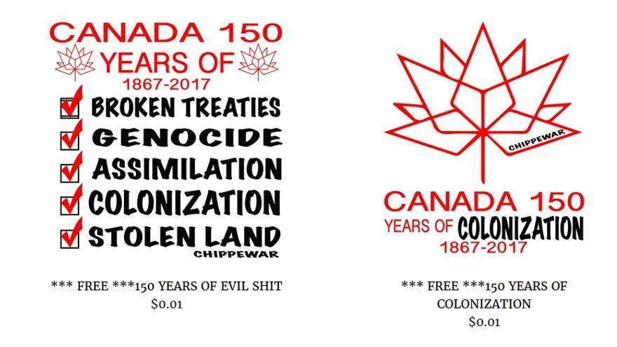 Pegatinas para protestar contra el 150 aniversario de Canadá