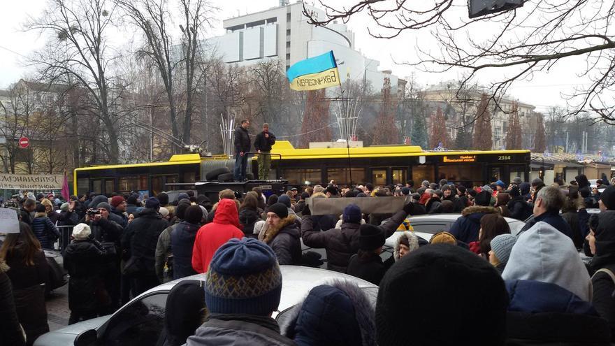 Protesta el 2 de enero frente al cuartel general de la policía en Kiev