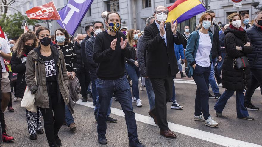 Iglesias, Gabilondo y García en la manifestación del 1 de mayo.