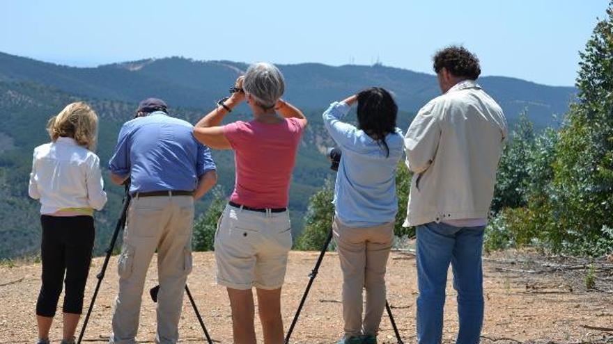 Turistas convocados en la última visita a Sierra Pelada, durante un avistamiento.