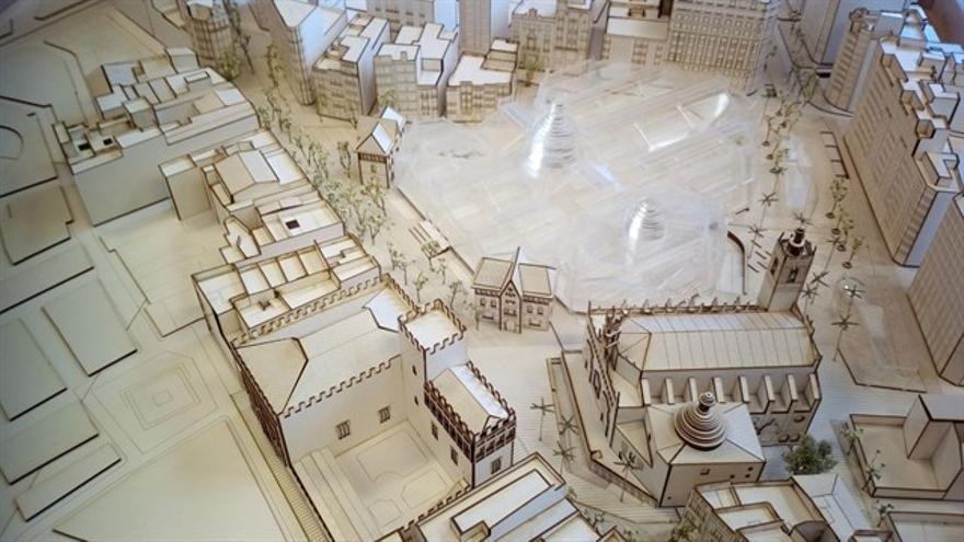Maqueta del proyecto 'Confluència', ganador de la reurbanización del entorno de la Lonja y Mercado Central