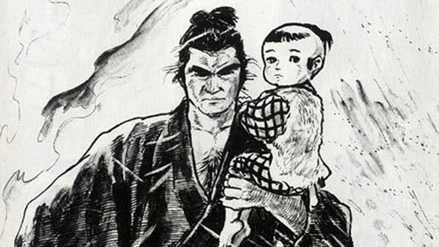 Viñeta de 'El lobo solitario y su cachorro', el manga que insprió a Allan Collins para crear 'Camino a la perdición'