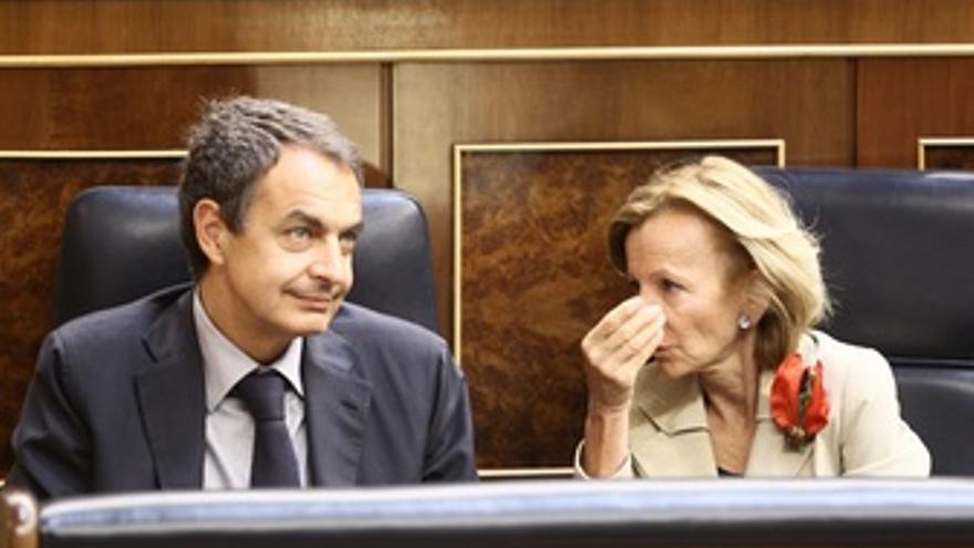 Zapatero Y Salgado, En El Pleno Del Congreso