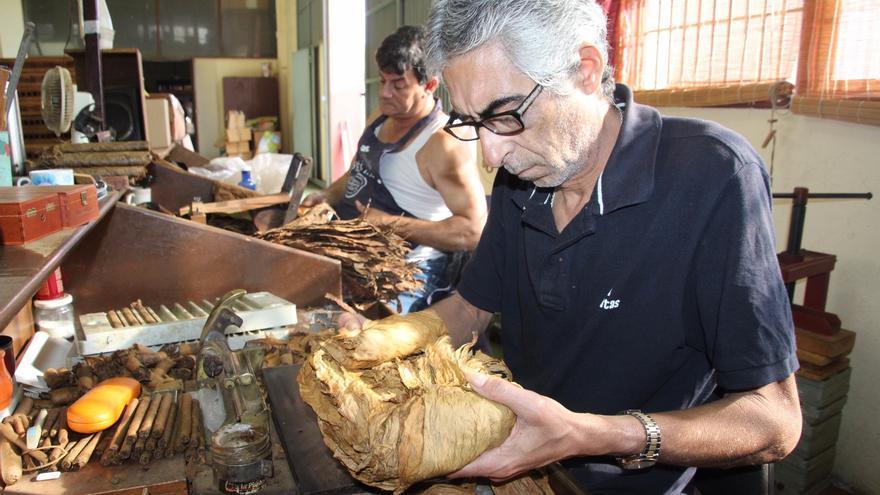 Leonel elabora puros a mano en La Fábrica. Foto: JOSÉ AYUT