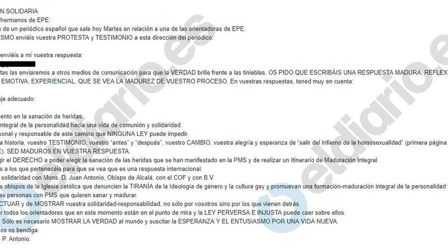 Imagen de la carta para movilizar a los simpatizantes de EPE.