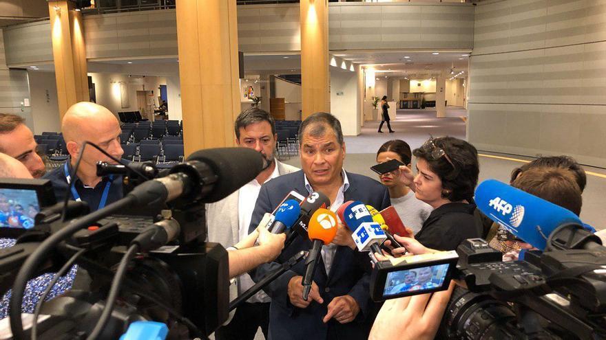 El expresidente de Ecuador, Rafael Correa, en el Parlamento Europeo el 9 de octubre.