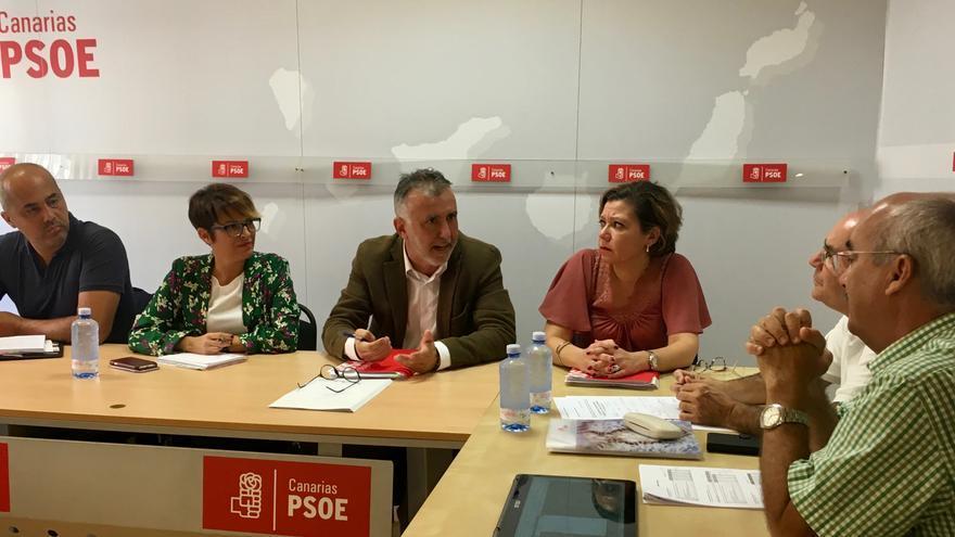 Reunion con entre el PSOE canario y la Plataforma Ciudadana del 4% para la Educacion Ya.