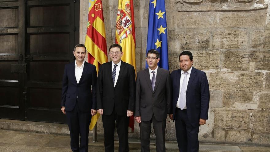 César Sánchez junto a Ximo Puig en el Palau de la Generalitat
