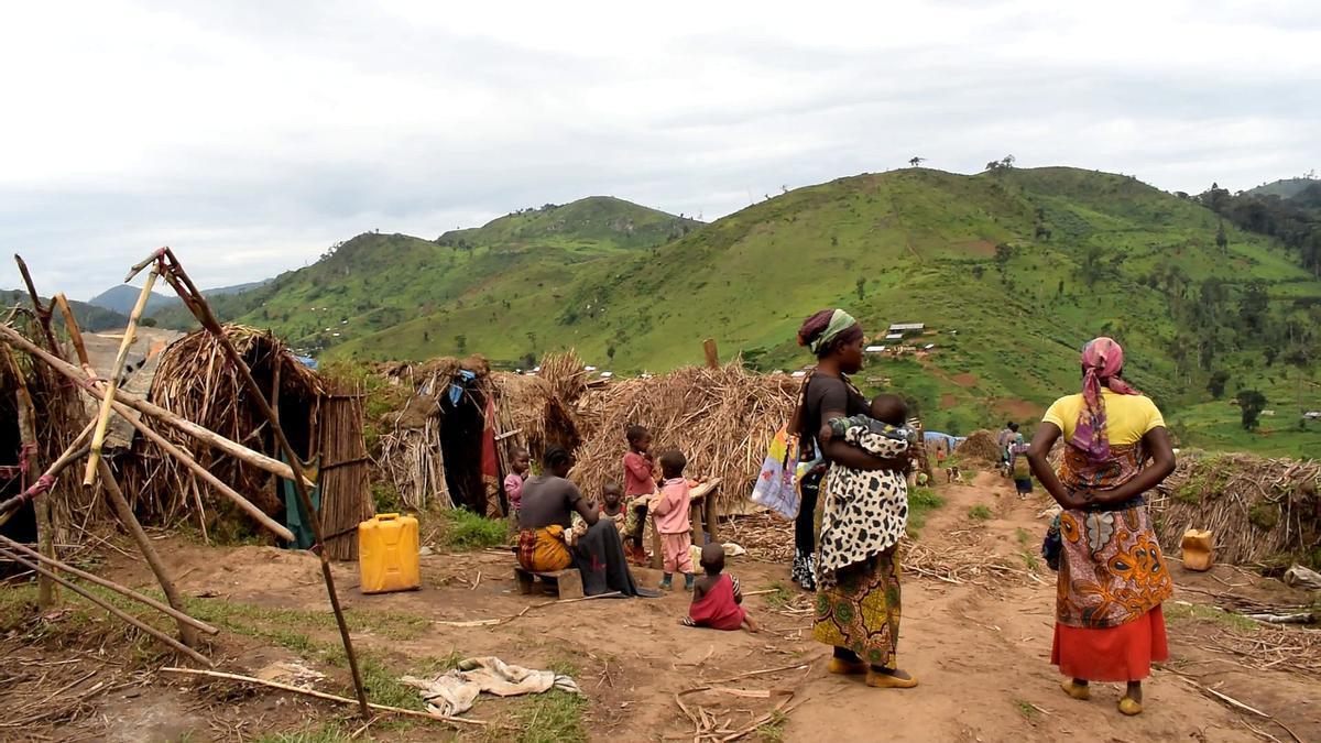 Desplazados internos en Katasomwa, en el territorio de Kalehe de la provincia congoleña de Kivu del Sur.