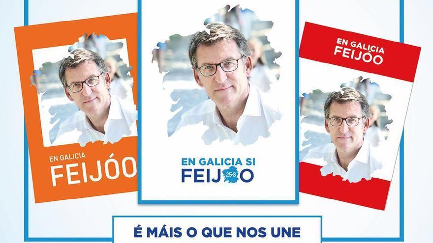 Montaje realizado por el PP con la cara de Feijóo en carteles como los de Ciudadanos y PSdeG
