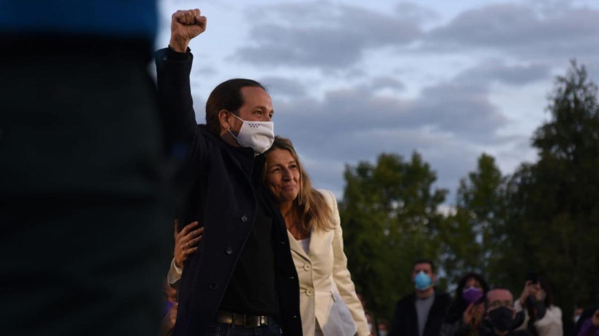 Pablo Iglesias y Yolanda Díaz, en el cierre de la campaña del 4M de Unidas Podemos.