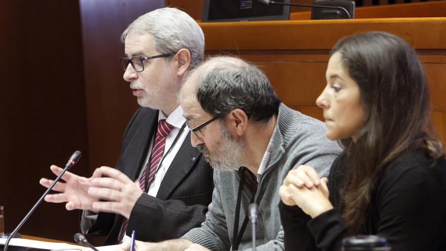 Ferrán Tarradellas, portavoz de la Plataforma de Regiones Mineras en Transición de la Comisión Europa, este miércoles en las Cortes de Aragón