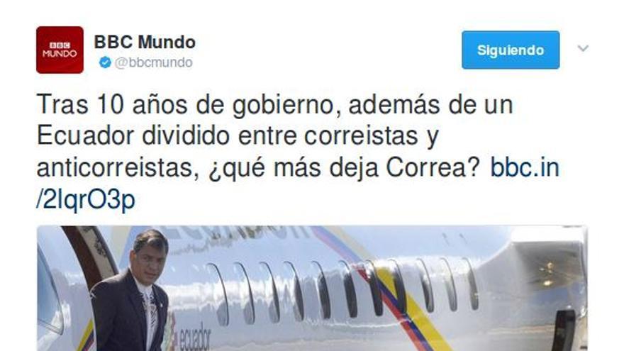 Tuit de la BBC sobre Correa.
