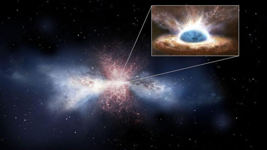 Simulación artística. Los vientos del agujero negro barren el gas de las galaxias. Crédito: ESA/ATG medialab