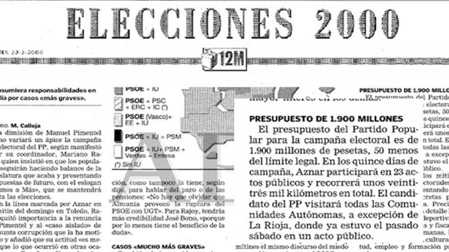 Extracto de un periódico con el presupuesto de las elecciones del 2000