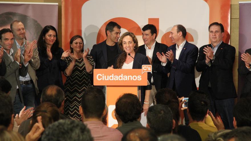 Carolina Punset, en la sede de Ciudadanos, tras las elecciones.