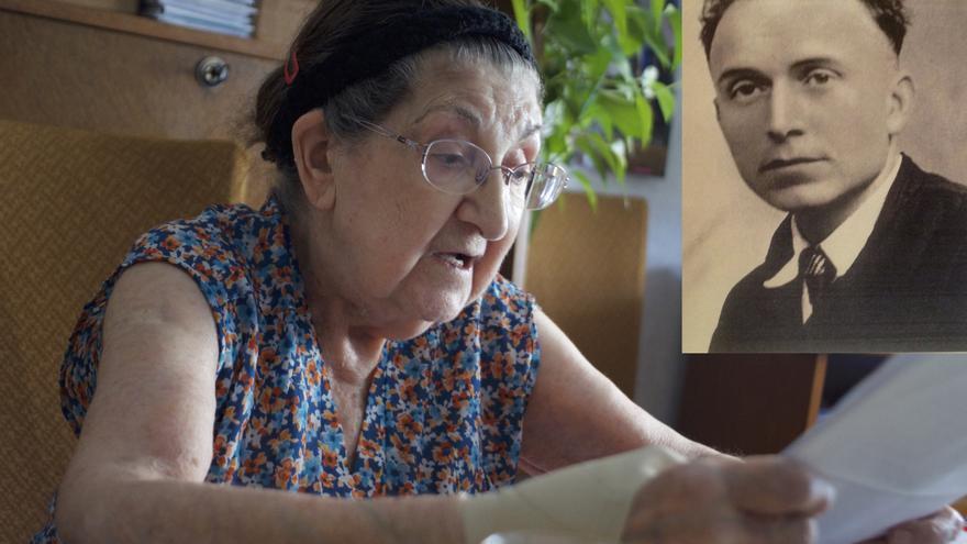 Olga durante la entrevista, en su casa de Perpiñán. En la foto pequeña, su patrón, Louis Tresallet, que fue deportado y asesinado en Dachau