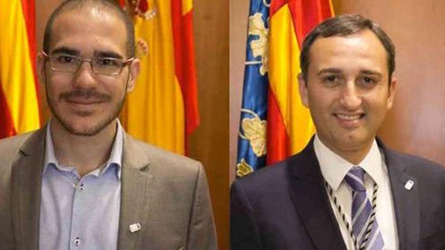 Ximo Perles (Compromís), César Sánchez (alcalde de Calp, del PP) y Santos Pastor (PSPV).