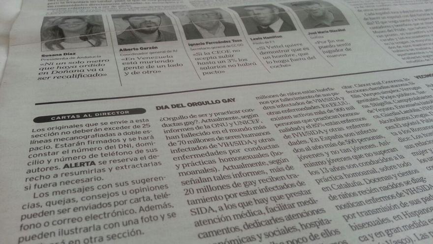 Imagen de la carta al director publicada en el diario ALERTA.