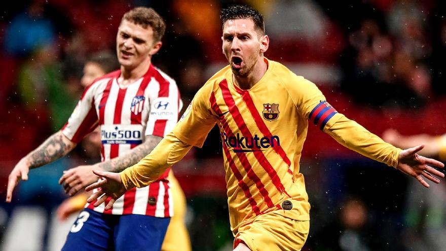 Messi celebra su gol en el Atleti-Barça