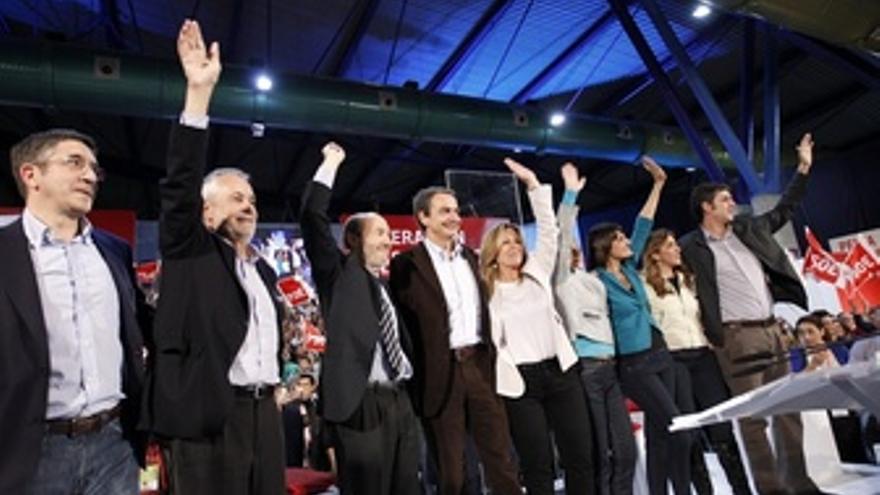 Griñan En Un Mitin En Málaga Con Zapatero, Rubalcaba Y López