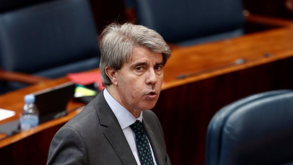 El expresidente de la Comunidad de Madrid Ángel Garrido, en una comparecencia en la Asamblea