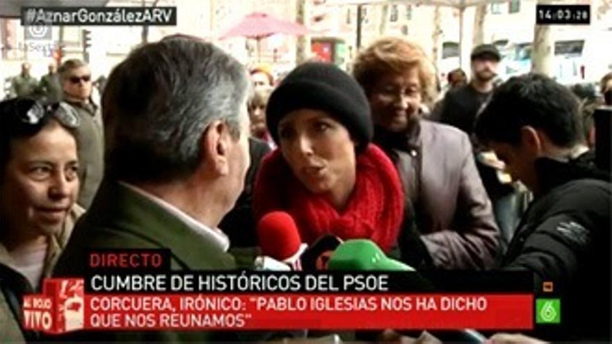 Rifirrafe entre Corcuera y Marta Nebot (Telecinco), recogido en directo por laSexta