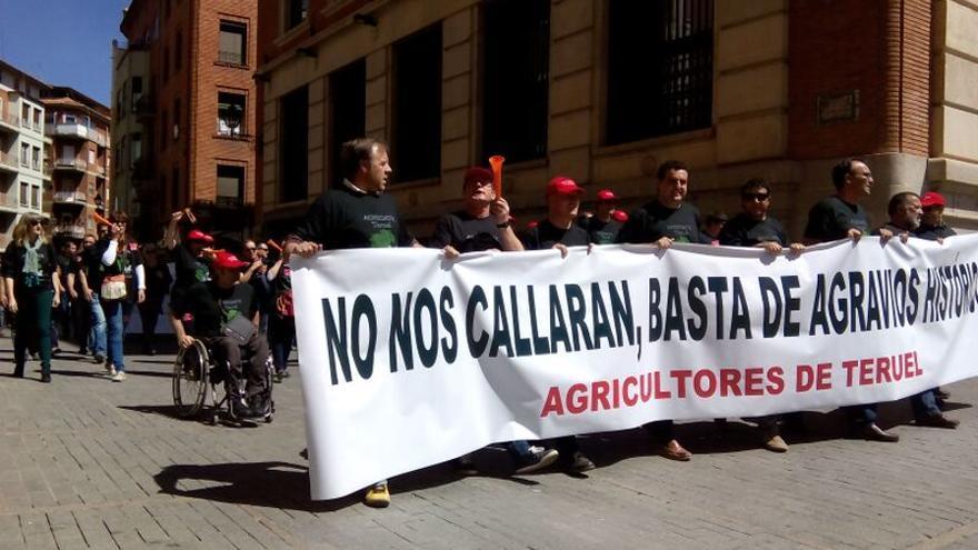 Los agricultores, durante la manifestación de la semana pasada