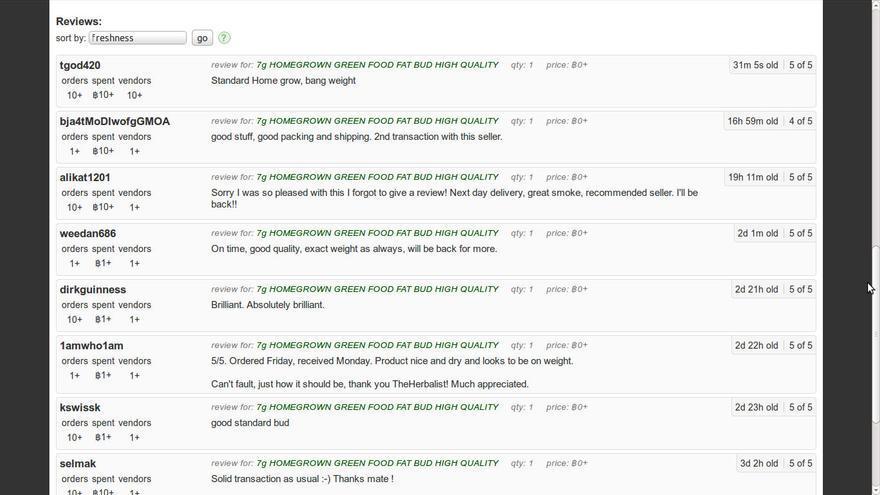 Un buen 'feedback' de los usuarios es importante para los vendedores (Imagen: Silk Road)