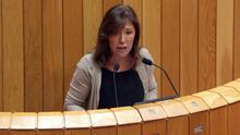 La conselleira Beatriz Mato anunciando en el Parlamento en diciembre de 2014 nuevas medidas de control de los cursos de formación