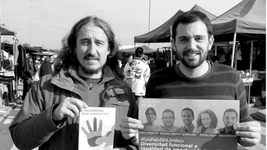 Pablo Rodríguez (derecha) acompañado de otro compañero / Podemos Extremadura