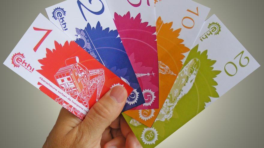 Billetes de la moneda alternativa en Bilbao, el ekhi / EKHI TXANPONA