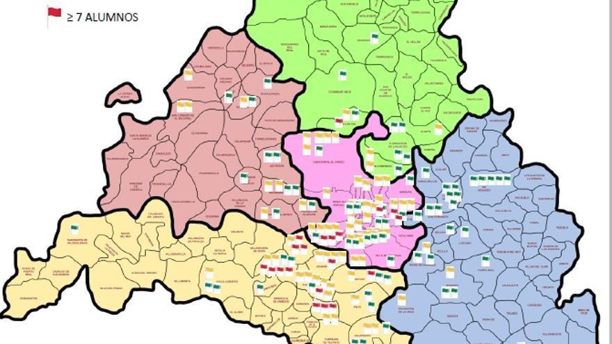 Mapa de colegios con aulas TEA y ratios. / SuresTEA