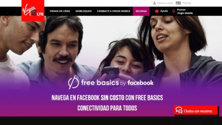 Anuncio de Virgin Mobile sobre Free Basics en Mexico.