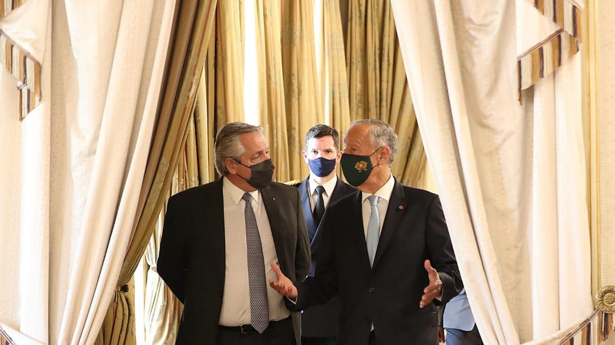 Alberto Fernández y el presidente de Portugal, Marcelo Rebelo de Sousa