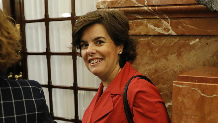 Soraya Saéz de Santamaría a su entrada en el Congreso