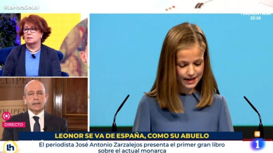Rótulo sobre la infanta Leonor aparecido en un programa de TVE.