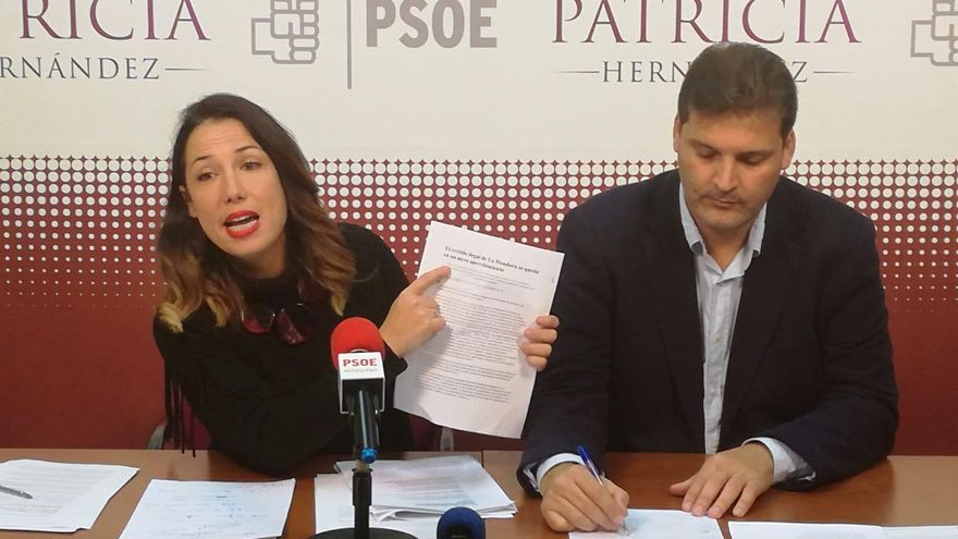 Patricia Hernández y José Ángel Martín, en rueda de prensa.